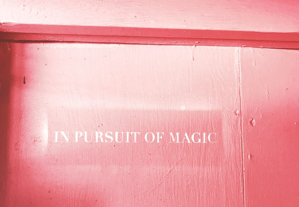 Text saying 'in pursuit of magic' on pink background